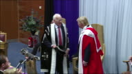 Donald Trump receives his honorary degree during a ceremony at the Robert Gordon University Aberdeen