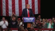 Donald Trump says 'goodbye' at the North Charleston Convention Center during a campaign rally on the evening of the South Carolina Republican primary...