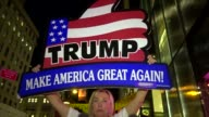 Donald Trump supporter holds proTrump banner sign during AntiTrump rally / Protesters gathered outside of Trump Tower on 5th Avenue and dubbed the...