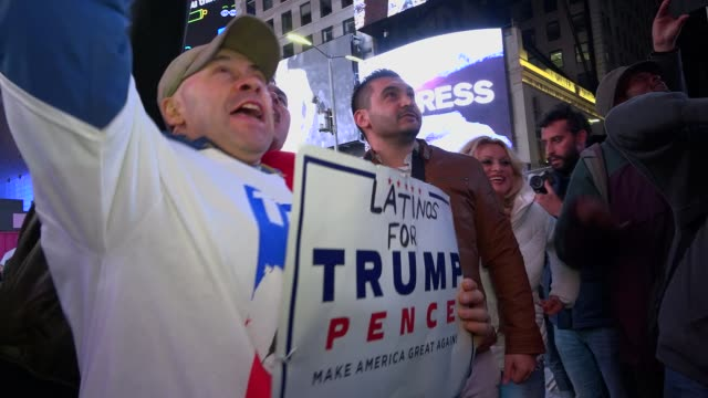 Donald Trump supporters gather in Times Square to await the results of the Presidential Election / Broadway Seventh Avenue Midtown Manhattan New York...