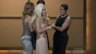 Donatella Versace accepts award from Janet Jackson Hilary Swank at the Glamour Magazine Honors The 2010 Women Of The Year Inside Show at New York NY