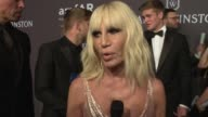 INTERVIEW Donatella Versace taks about being honored at 19th Annual amfAR New York Gala at Cipriani Wall Street on February 08 2017 in New York City