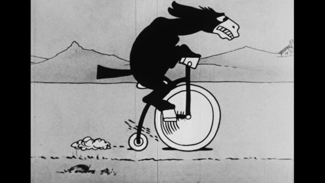 A donkey rides a penny-farthing and protects slave mice from bloodhounds