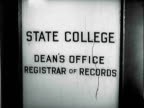 MONTAGE Door of the Dean's office and students walking on campus at a State College / United States