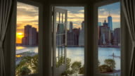Door Window view New York Manhattan time lapse dusk skyscraper