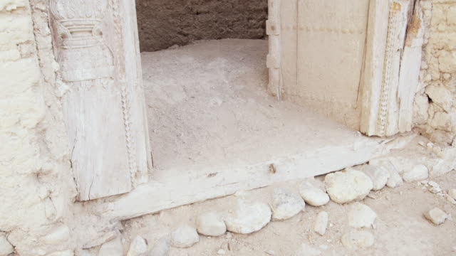 MS TU Doorway of ruined mud house, Muscat, Oman