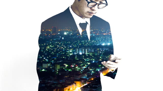 Double exposure business man working with a smartphone