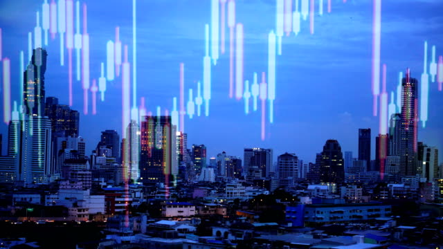 Double exposure of a and city stock market.