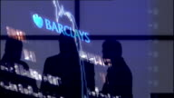 Doubts over future of Barclays Bank Chief Executive after LIBOR rate manipulation GRAPHICISED SEQUENCE Barclays logo graph of share prices and...