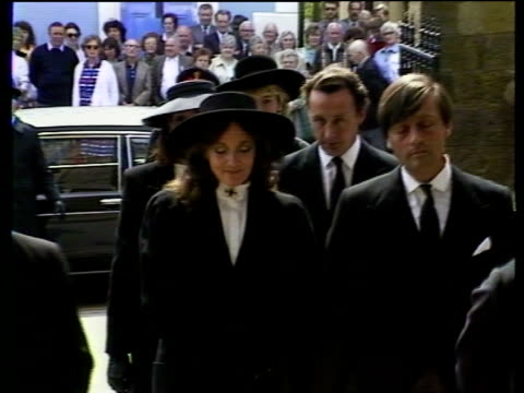 Dowager Duchess of Westminster funeral N IRELAND Enniskillen GV Enniskillen Cathedral MS Man along RL CMS Two women in uniforms towards LS Police...