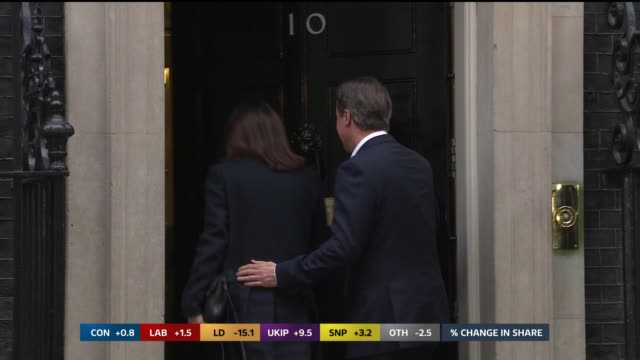 SPECIAL 0925 1015 Downing Street EXT **BEWARE FLASH PHOTOGRAPHY** David Cameron MP and wife Samantha Cameron arriving at Number Ten and waving then...
