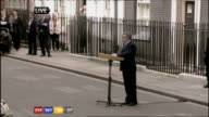 1330 1430 Downing Street EXT ***FLASH High Angle shot of Gordon Brown MP along to lectern and makes statement SOT With the outcome of the general...
