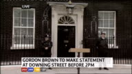 1230 1330 Downing Street EXT LIVE shot of door of No10 with podium outside