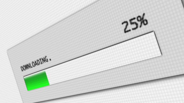 Download progress bar on computer screen