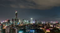 T/L TD Downtown Beijing and Urban Skyline, Night / Beijing, China