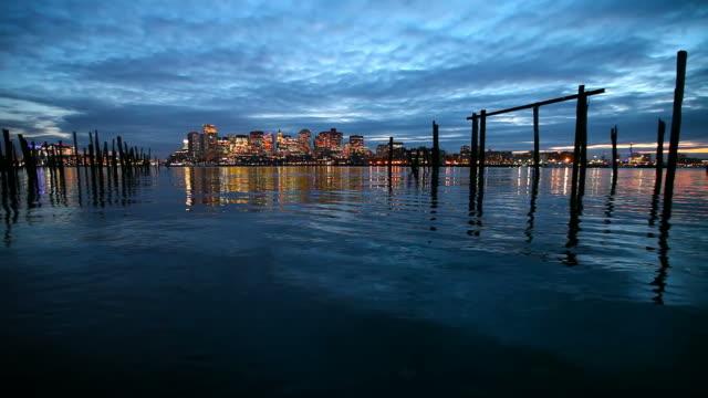 Skyline in der Innenstadt von Boston Harbor waterfront