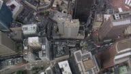 AERIAL Downtown city streets and rooftops / Boston, Massachusetts, United States
