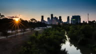 Downtown Houston Sunrise over bayou