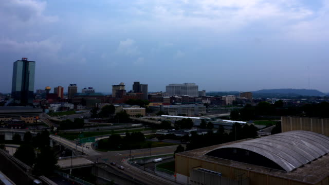 Downtown Knoxville Tennessee sunset time lapse