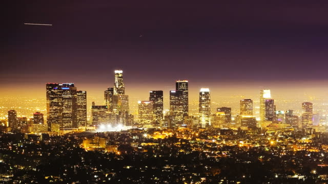 T/L Downtown Los Angeles at night / Los Angeles, California, USA