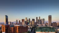 Downtown Los Angeles Skyline from West - Day to Night Timelapse