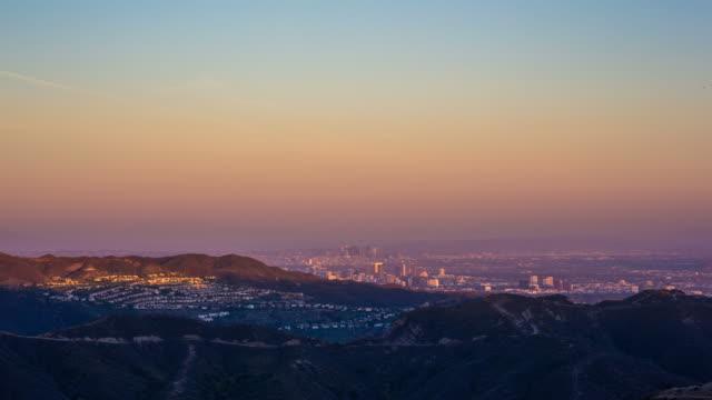 Downtown Los Angeles sunset sedd från Malibu