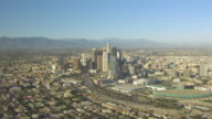 WS AERIAL POV Downtown Los Angeles with the skyscrapers at Los Angeles, California