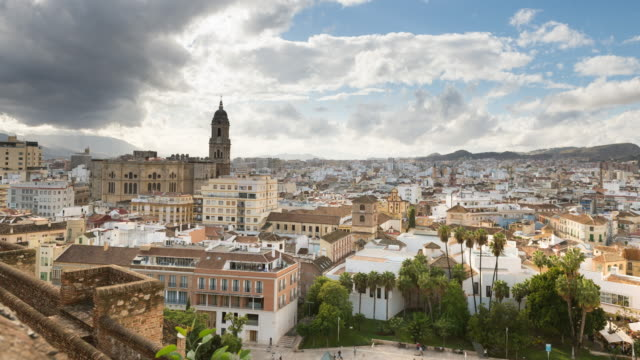 Downtown Malaga, Spain, timelapse at day
