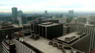 Innenstadt von Metro Flug über die Skyline der Stadt, Luftaufnahme