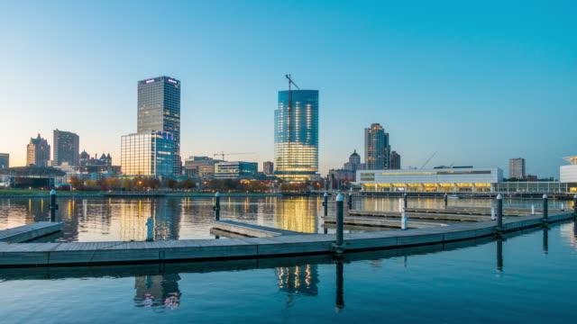 downtown Milwaukee skyline at twilight