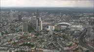 AERIAL Downtown of Frankfurt am Main, Hesse, Germany