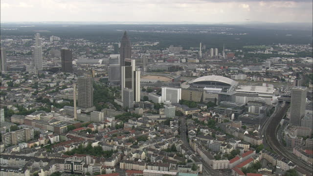 AERIAL Downtown of Frankfurt am Main, Hesse, Germany