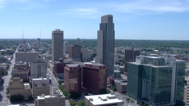 Downtown Omaha day time cityscape featuring First National Tower and Woodmen Tower