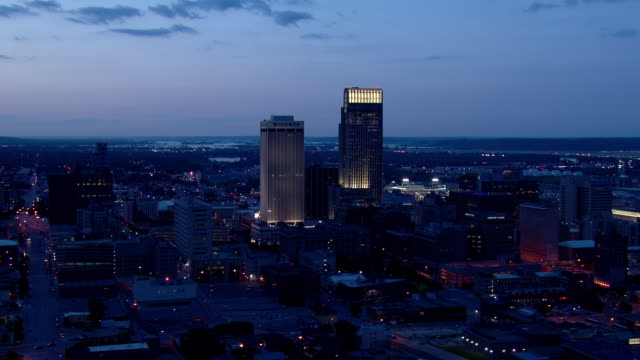 Downtown Omaha night cityscape featuring First National Tower and Woodmen Tower