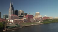 WS, Downtown skyline across Cumberland river, Nashville, Tennessee, USA