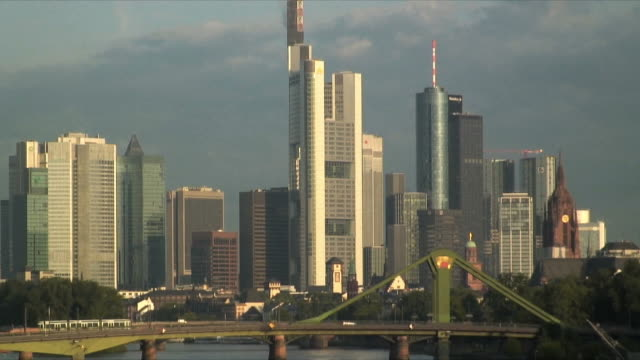 MS ZO WS Downtown skyscrapers and Ignatz Bubis Bridge on river Rhine, Frankfurt am Main, Germany