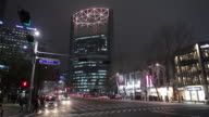 WS Downtown street at night with Jongno Tower / Seoul, South Korea