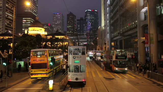 WS POV Downtown traffic as seen from moving tram / Hong Kong, China