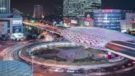 T/L WS HA PAN Downtown Traffic at Night / Shanghai, China