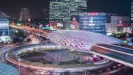 T/L WS HA ZO Downtown Traffic at Night / Shanghai, China