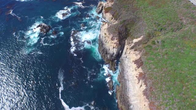 Downward Aerial High Tilt Up: 4K UHD Garrapata SP and Highway 1