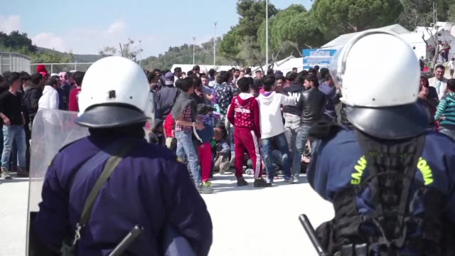 Dozens of migrants protested at the Greek registration hotspot of Moria on the island of Lesbos on Tuesday which has experienced most of the countrys...