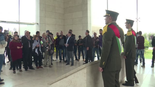 Dozens of Palestinians gathered Thursday in Ramallah in front of the mausoleum of former leader Yasser Arafat to commemorate the 13th anniversary of...