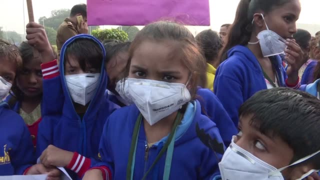 Dozens of schoolchildren take part in protest against hazardous air pollution levels calling on Indian authorities to take stringent action to tackle...