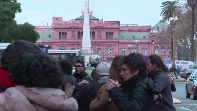 Dozens of tango dancers blocked one of Buenos Aires main avenues Friday evening to protest against the governments decision to close milongas or...