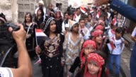 Dozens of Yemeni children marched in streets of Sanaa in traditional clothes during a festival to welcome the Muslim holy month of Ramadan when the...