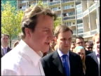 Dramatic cabinet reshuffle after local election losses Hammersmith EXT David Cameron MP wearing shirtsleeves adn no tie posing for celebratory...