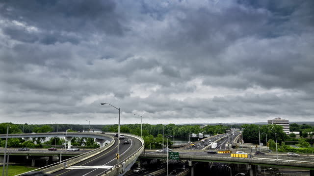 Dramatic cloudscape over Connecticut I-91 and I-84 interstates.