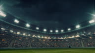 Dramatic soccer stadium full of spectators