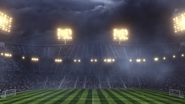 Dramatic soccer stadium with dark sky